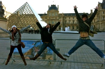 Alex, Angie and Lauren jumping at the Louvre