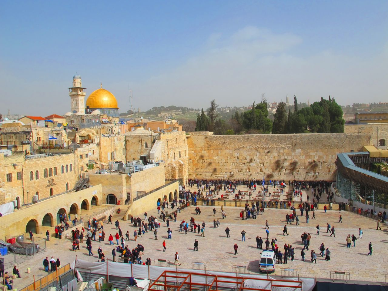 The Western Wall below, Dome of the Rock & Temple Mount above