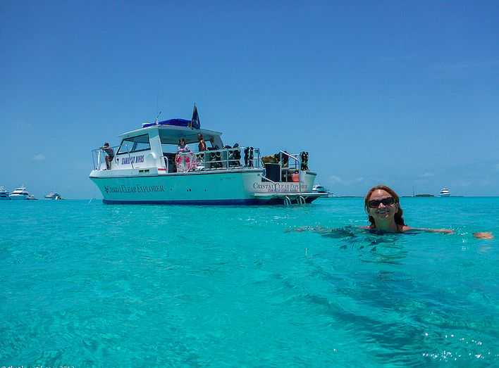 Cooling off in the world's most fabulous swimming pool - a.k.a. the sea surrounding the Exuma Cays